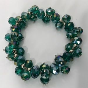 Green Tone Crystal Faceted Bead Bracelet